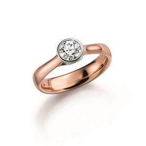 engagement ring with Diamond in redgold with whitegold