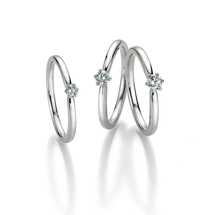 three engagementsrings with Diamonds six prong style